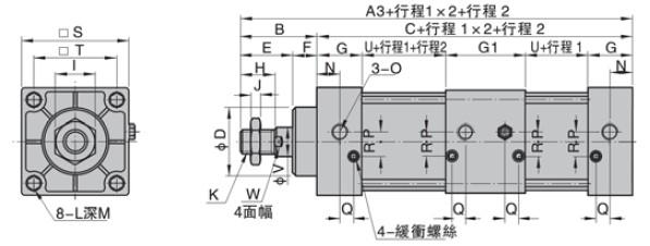 标准气缸PSCT系列特性说明: 1、活塞密封采用异型双向密封结构,尺寸紧凑,有储油功能; 2、为拉杆式气缸,前后盖与铝管缸体用支柱连接,可靠性好; 3、活塞杆在整个运动过程中,可实现多个位置的定位; 4、气缸缓冲调节平稳; 5、多种规格的气缸及气缸安装附件可供客户选择使用; 6、选择耐高温密封材料,可保证气缸在150C条件下正常工作;