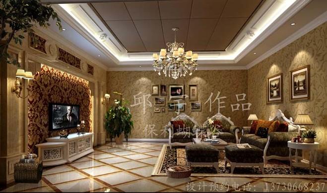 成都保利蝴蝶谷独栋别墅设计装修欧式新风格(新古典风格)休闲区案