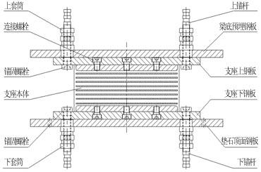 高阻尼隔震橡胶支座结构示意图(固定型)